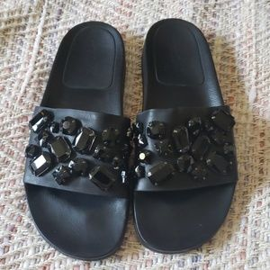 LOEFFLER RANDALL Black Jeweled Sandals Sz 10
